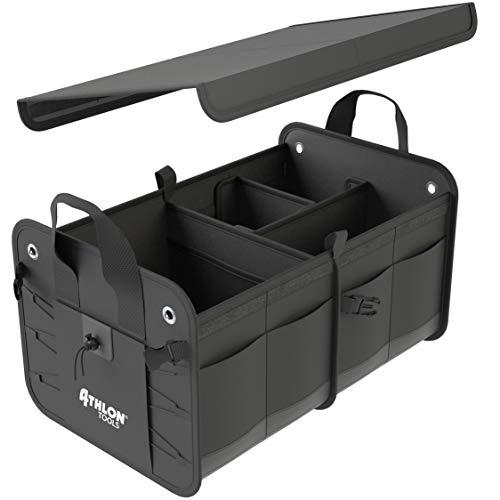 ATHLON TOOLS Premium Kofferraumtasche mit Deckel   Extra stabile & wasserfeste Böden   XXL Kofferraum-Organizer mit vielen Fächern   Faltbare Autotasche Autobox  mit Antirutsch-Klett