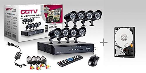 KIT VIDEO VIGILANCIA h264 CCTV 8 CANALES CÁMARA INFRARROJA DVR 8 CANALES - 8 FUENTES DE ALIMENTACIÓN - 8 EXTENSIONES - DISCO DURO 500 GB