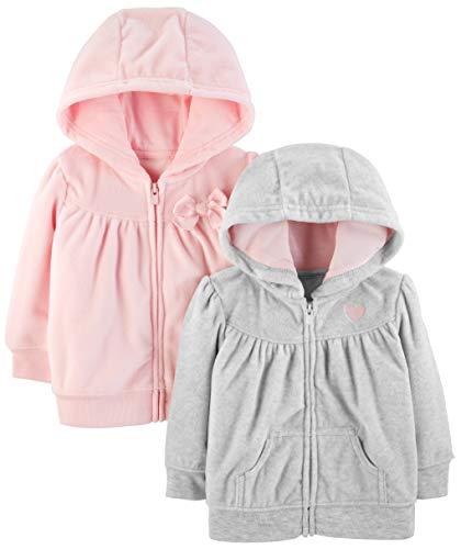 Simple Joys by Carter's 2- Pack Fleece Full Zip Hoodies Felpa con cappuccio Light Gray/Pink 18 Months Pacco de, 1