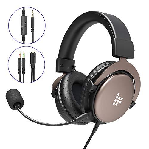 Gaming Headset für PS4 Xbox One PC, Tronsmart SONO Professioneller 3.5mm Over-Ear Gaming Kopfhörer, Stereo Sound Mikrofon mit Rauschunterdrückung, Intensiven Bässen für Computer Laptop Mac