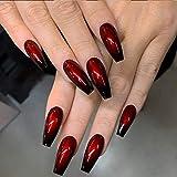 Handcess Coffin Uñas postizas brillantes, largas, negras y rojas, para bailarina, prensa en las uñas, arte acrílico degradado, cubierta...