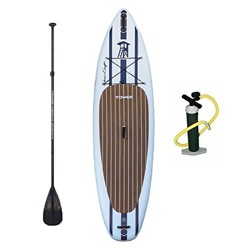 """Tower Inflatable 10'4"""" Stand Up Paddle Board - (6 Inches Thick) - Universal SUP Wide Stance - Premium SUP Bundle (Pump & Adjustable Paddle Included) - Non-Slip Deck - Youth and Adult - Chris Craft"""
