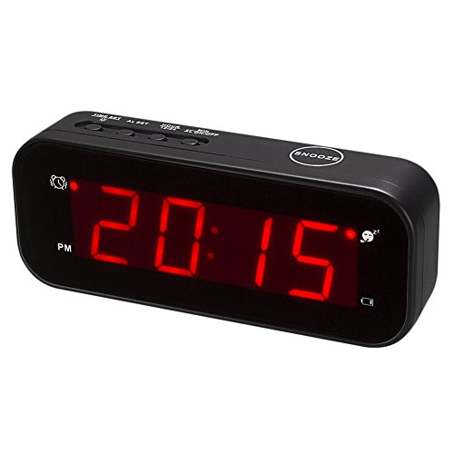 KWANWA Small Digital Alarm Clock for Travel with LED Temperature or Time Display Stays On,Battery Powered Only