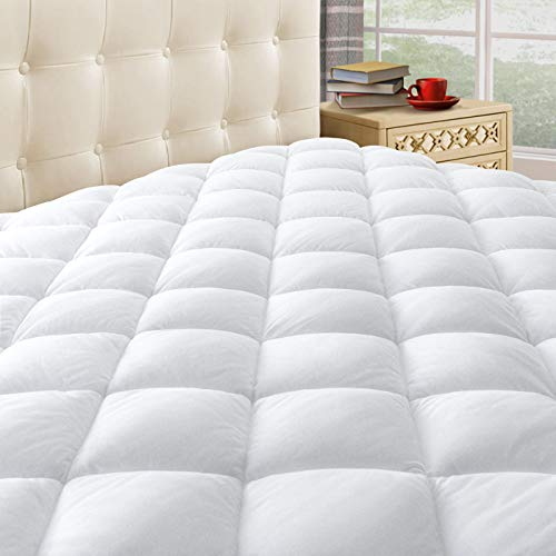 Taupiri King Quilted Mattress Pad Cover with Deep Pocket (8'-21'), Cooling Soft Pillowtop Mattress Cover, Hypoallergenic Down Alternative Mattress Topper