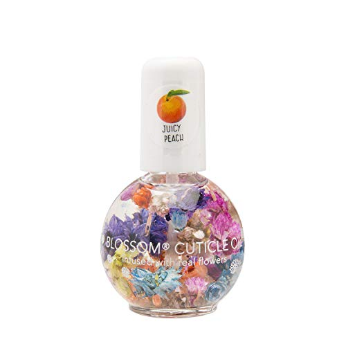 Blossom Scented Cuticle Oil (0.42 oz) infused with REAL flowers - made in USA (Juicy Peach)