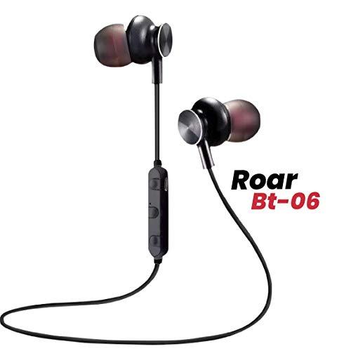 Maxobull Roar Make in India BT-06 in Ear Bluetooth 5.0 Sweatproof Ip 5.0 Long Battery Volume Control Lightweight Headphones/Earphones with Microphone (Black)