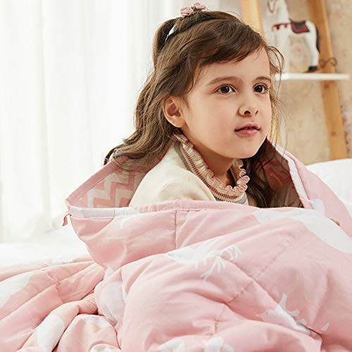 Weighted Idea Kids Weighted Blanket 7 lbs 41' x 60' for Kids and Teens (Soft, 100% Natural Cotton, Pink Animal) with No-Leaking Glass