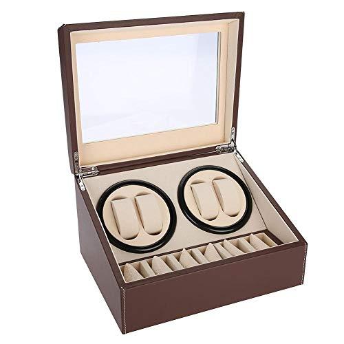 Uhrenbeweger, Luxuriöser eine Uhr Watch, AUhrenbeweger für 4 Automatikuhren + 6 Gitter Uhrenkoffer Leiser Motor Mehrfachumdrehung,für Automatikuhren