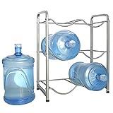 Enrack 5 Gallon Water BottleHolder, 3-Tier Heavy Duty Carbon Steel Water Jug Rack for 6 Bottles, 3-Gallon or 5-Gallon Water Jug Storage Organizer for Kitchen, Restaurant, and Office. Silver
