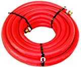 Water Hose Continental ContiTech 1/2' x 100' RED RUBBER Industrial 200psi with Brass Fittings - Heavy Duty - USA