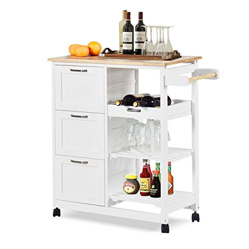 charaHOME Kitchen Island Cart with 3 Tier Holder Kitchen Serving Carts Rolling Bar Cart Natural Solid Wood Top with...