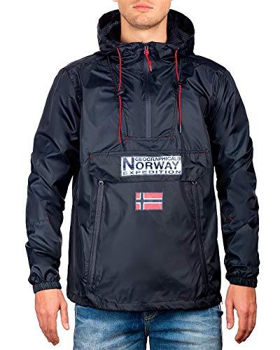 Geographical Norway Chaqueta cortavientos para hombre azul marino M