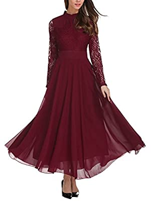 Material: Polyester. Comfortable and Breathable to wear. Maxi Dress for Women, Stand Collar, Long Sleeve, A Line, Flared, Flowy, Party Dresses Occasion: Great for vacation, beach, casual outtings, club, gathering, homecoming, party, cocktail. Care: W...