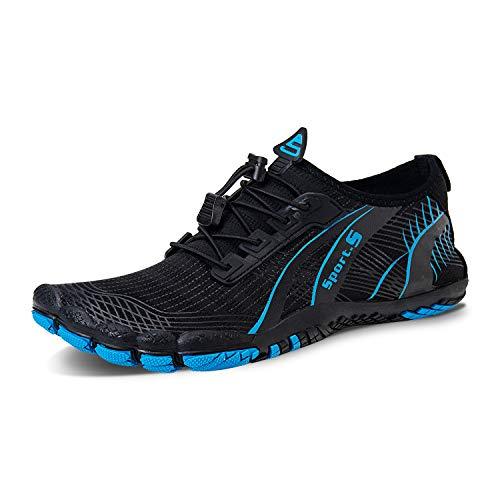 IceUnicorn Barfußschuhe Traillaufschuhe Damen Herren Fitnessschuhe Aquaschuhe Zehenschuhe Schwimmschuhe Wasserschuhe(2#S/Blau, 43EU)