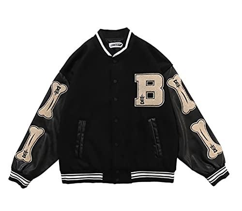 SKYWPOJU Vestes Varsity pour Hommes - High School Baseball Bomber Jacket Homme - Printemps Automne (Color : Black, Size : XXL)