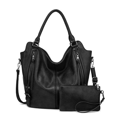 """Quality Material: High Quality Anti-Scratch PU Leather Hobo Purse Handbags, all women tote bags have been done anti-shock&wear-resistant tests Large Capacity Purses: 13.4"""" at Bottom(rise to 18.9"""" at Top) x 6.5"""" x 14.6"""" (L x W x H), Handle Height: 10.2"""", Wallet Clutch: 8.2"""" x 5.1"""" (L x H). This women bag comes with a long removable and adjustable shoulder strap. Classic Hobo Purse: Top zipper closure, 2 front zipper pockets with elegant tassels design, 1 back pocket, fashionable and practical handbags for women"""