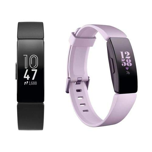 Fitbit Inspire HR Fitness Watch, for Him and Here - Black/Black with Lilac/Lilac