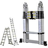 16.5FT Aluminum Telescoping Extension Ladder 330lbs Max Capacity A-Frame Lightweight Portable Multi-Purpose Folding...