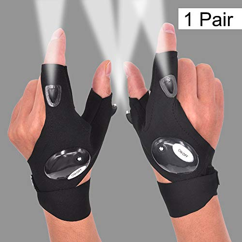 Mylivell LED Flashlight Glove Outdoor Fishing Gloves with Stretchy Strap Screwdriver for Repairing Cars Night Running Fishing Camping Hiking in Dark Place (1 Pair)