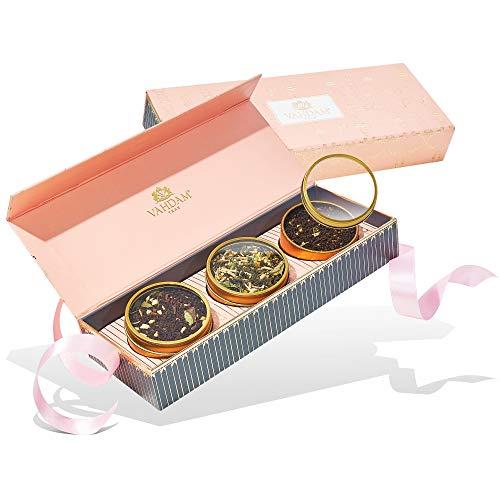 VAHDAM, set regalo di tè assortiti - Fard, 3 tè in una confezione regalo da campionatore di tè   Tè preferito di Oprah 2019-100% di ingredienti naturali - Regali di compleanno per donne e mamma, nonna