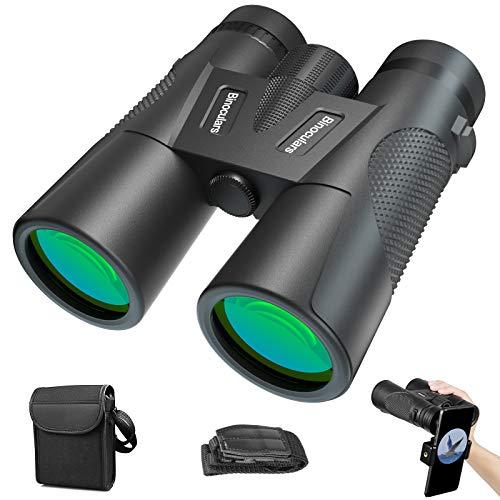 Binocolo Professionale, 12x42 Portatile HD Binocolo con Clip per Smartphone, Funzione di Visione Notturna, con Borsa per Osservazione di Uccelli, Escursioni, Mondo degli Animali