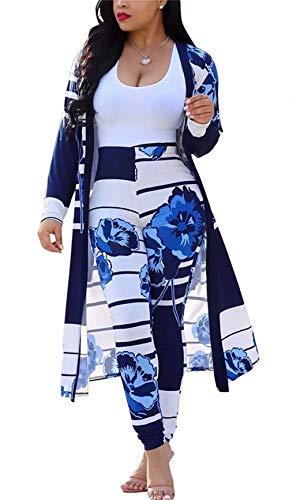 LROSEY Plus Size 2 Piece African Print Attire Jackets Pants for Women (Blue, 2XL)