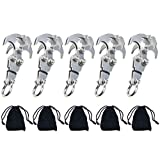 WREOW 2 IN 1 Pocket Size Gravity Hook,Stainless Steel Grappling Hook Survival Folding Rock Climbing Claw Multifunctional EDC Tool Tactical Emergency Tool for Outdoor Life (5 Pack)