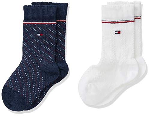 Tommy Hilfiger Th Baby Kneehigh 2p Girls Zig Zag calze, Tommy Original, 19-22 (Pacco da 2)...