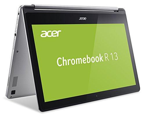 Acer Chromebook R 13 (13,3 Zoll Full-HD IPS Multi-Touch, 360° Convertible, Aluminium A- & D-Cover, 15mm flach, extrem lange Akkulaufzeit, schnelles WLAN, lüfterlos, HDMI, Google Chrome OS) Silber