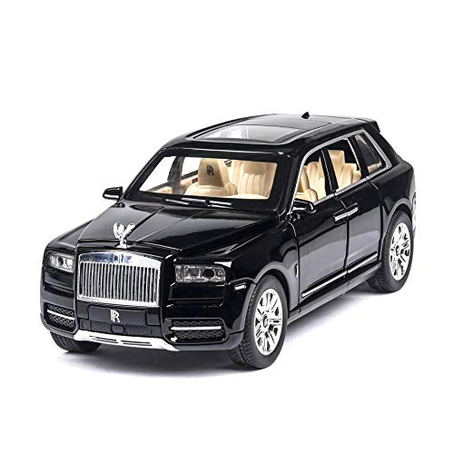 1/24 Scale Rolls-Royce Cullinan Metal Car, Toy Alloy Car with Lights,alloy car model, perfect for collector's display,Black