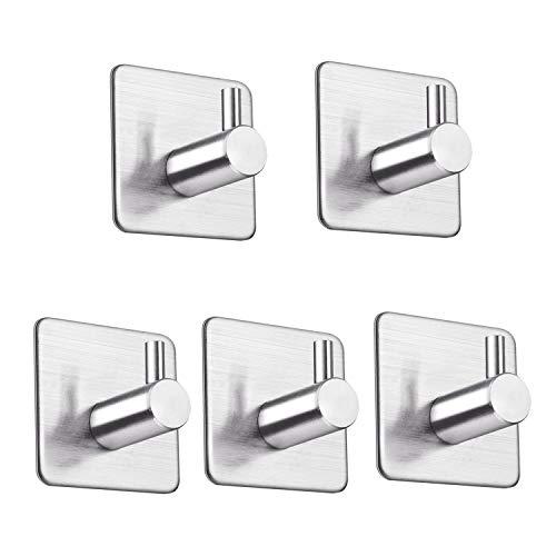 LOOGI Adhesive Hooks Towel Hooks Wall Door Hanger Heavy Duty Stainless Steel for Bathroom Kitchen Home - 5 Packs