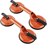 XUMAKI Glass Suction Cup Heavy Duty Aluminum Vacuum Plate Handle Glass Puller Lifter Tile Suction Cup Lifter Floor Gap Fixer for Lift Glass, Window, Tile, Granite, Objects Moving and Lifting (Orange)