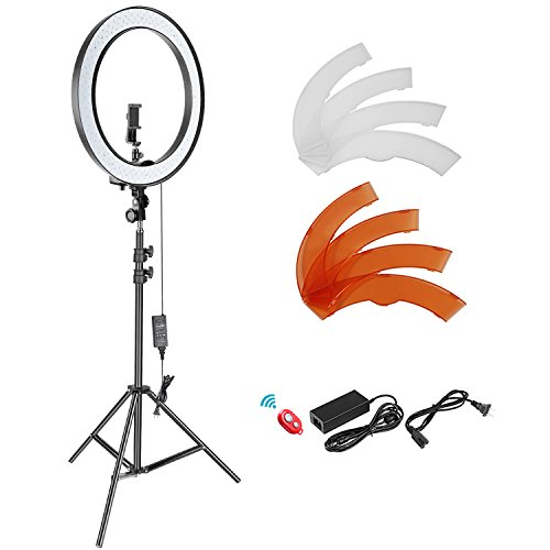 Neewer 18-inch SMD LED Ring Light Dimmable Lighting Kit with 78.7-inch Light Stand, Filter and Hot Shoe Adapter for Camera Photo Studio LED Lighting Portrait YouTube Video Shooting (No Carrying Bag)