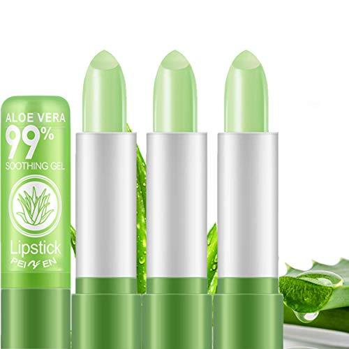 3 Pack Aloe Vera Lipstick, LemonSac Long Lasting Nutritious Lip Balm Lips Moisturizer Magic Temperature Color Changing Lip Gloss (3Pcs)