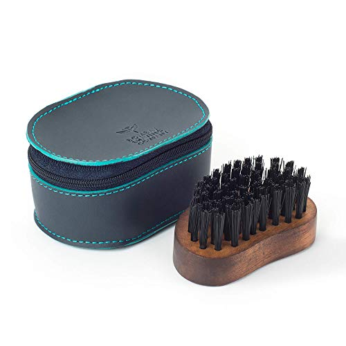 Bombay Shaving Company Pocket Size Beard Brush made with Sheesham Wood and Free Faux Leather Pouch