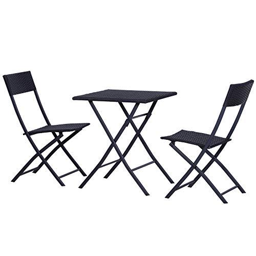 Outsunny Mobili da Giardino in Rattan Set 1 Tavolino e 2 Sedie da Giardino Pieghevoli 3pz Nero