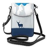 Lawenp Deer Mountain Tree Crossbody Monedero para teléfono Pequeño Mini bolso de hombro Bolsa para teléfono celular Cartera de cuero para mujeres y niñas