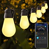 Govee 48ft Patio Lights with Bluetooth App Control, IP65 Waterproof Shatterproof Outdoor String Lights with 15 Dimmable Warm White LED Bulbs, Decorative Outdoor Lights for Garden, Backyard, Party