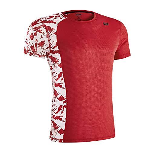 42K Running - Maglietta tecnica Lotus da uomo., Uomo, Rosso (Fire Red), S