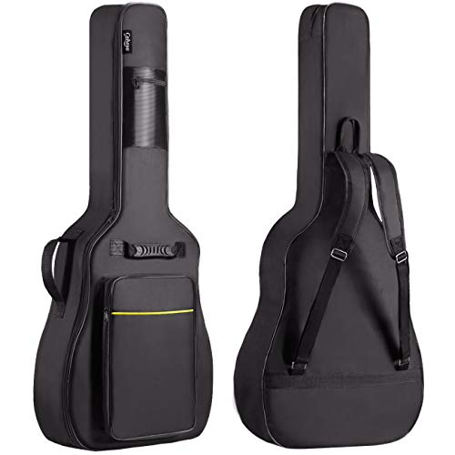 CAHAYA 41 Inch Acoustic Guitar Bag 0.35 Inch Thick Padding Waterproof Dual Adjustable Shoulder Strap Guitar Case Gig Bag with Back Hanger Loop, Black