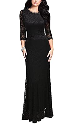 Polyester/Spandex/Lace 3/4 Sleeve,High Waist,Slim bridesmaid long dress For Cocktail Party Wedding Prom Evenning Party formal dress For Cocktail Party Wedding Prom Evenning Party formal dress Style: Long Dress,for dress length plz carefully size char...