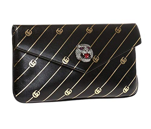 41WArpEMfmL Gucci Broadway Black Leather Gold GG Evening Clutch Bag with Crystal Studded Tiger 371929 Suede exterior with crystal detail. Leather interior. Serial number embossed in interior leather tab. Dimensions: 9.5 x 2 x 5 inches (length x width x height), interior open pocket