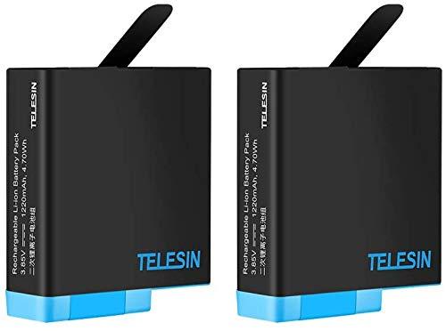 TELESIN Sostituzione batteria 2 Alimentatore per GoPro hero 8 Black Hero 7/6/5, batterie ricaricabili aggiornamento per la ultima v02.00 e versioni inferiori (2 batterie)