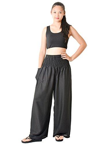 Orient Trail Women's Hippie Bohemian Boho Yoga Wide Leg Harem Pants X-Large Solid Black 6