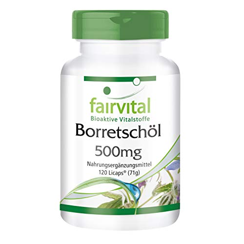 Aceite de Borraja 500mg - VEGANO - dosis alta - 120 Cápsulas - prensado en frío - ácido gamma linolénico (omega-6) - Calidad Alemana