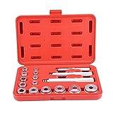 gototop 17pcs de aluminio de rueda race de Set de herramientas Extractor de rodamientos de rueda Extractor montaje Garaje Tool con rojo maletín