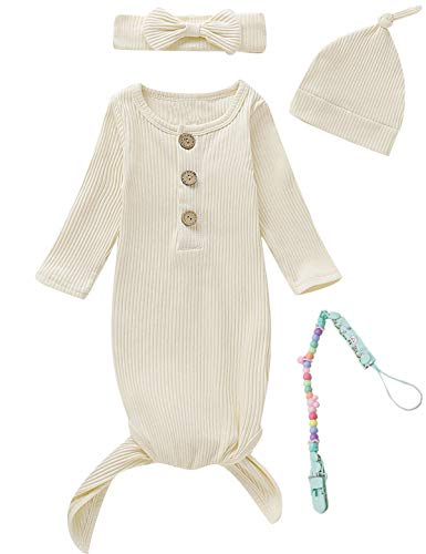 MoryGooder Newborn Cotton Nightgowns Neutral Baby Knotted Sleeper...