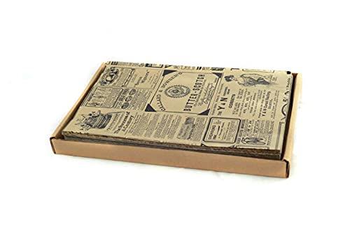 Hostelnovo - 500 Unidades de Papel antigrasa para Envolver Alimentos - Medida única de 32 x 20 cm - Especial para Basket Chips y Cualquier Tipo de Recipiente - Papel Kraft