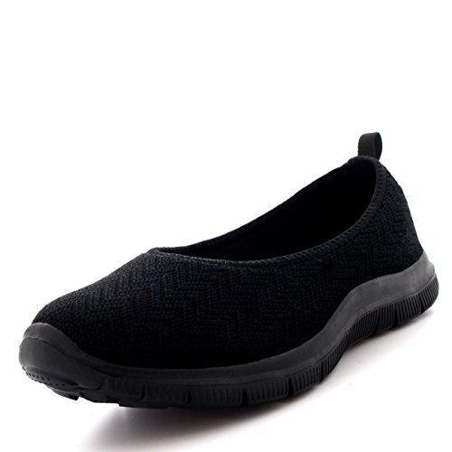Mujer Bailarina Aptitud Yoga para Caminar Corriendo Deportes Gimnasio Ligero Malla Zapatillas - Negro/Negro - UK5/EU38 - BS0107