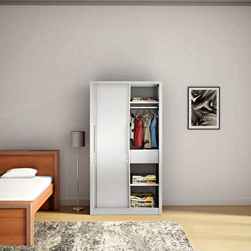 Godrej Interio Slide N Store Pro 2-Door Wardrobe (Matte Finish, Textured Bond White)